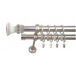 Karnisz Podwójny ELZA Ø25/19 mm Orto : dlugosc karniszy - 280 cm, Rodzaj - Metalowy, typ karnisza - Podwójny, Kolor Karnisza - Antyczny Mosiądz, Mocowanie - Ścienne