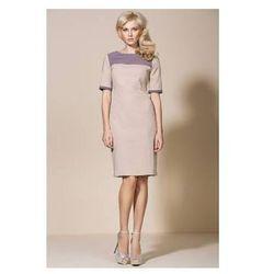Beżowa sukienka midi AL04