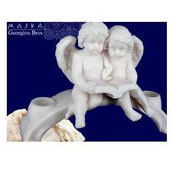 > Para aniołków czytających książkę -alabaster grecki