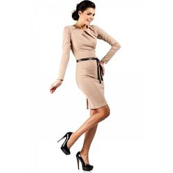 Sukienka ołówkowa z ćwiekami MOE043 cappuccino