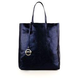 Granatowy skórzany shopper bag