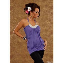 Elegancki, seksowny top na ramiączkach w kolorze fioletowym - Dea Divina - 8230-3