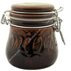 Ceramiczny hermetyczny pojemnik na miód w kolorze brązowym