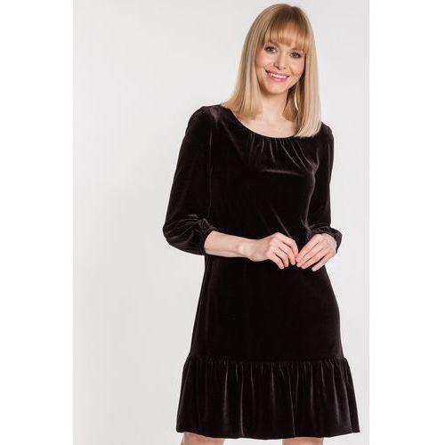 47355e286b Welurowa sukienka z falbanką - Vito Vergelis - porównaj zanim kupisz