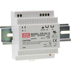Zasilacz na szynę DIN Mean Well DR-30-24, 24 V/DC, 1.5 A, 36 W, 1 x