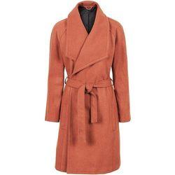 Krótki płaszcz z wykładanym kołnierzem bonprix cynamonowy