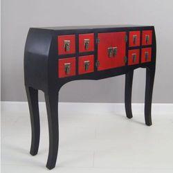 Konsola, styl azjatycki, gięte nogi, osiem szuflad, drzwiczki, metalowe okucia, kolor czarno- czerwony, satynowy połysk.