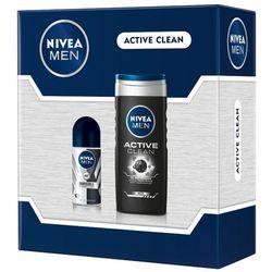 NIVEA Men Active Clean Zestaw kosmetyków dla mężczyzn (żel + roll-on)