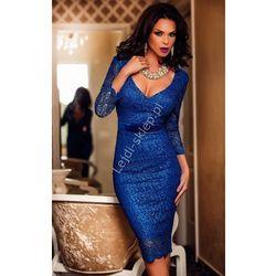 Chabrowa sukienka z gipiury | niebieska sukienka midi | koronkowe sukienki