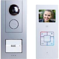 Domofon m-e modern-electronics Vistus VD6310, Kompletny zestaw, Interkom drzwiowy z wideo, Dom jednorodzinny, Kolor: Srebrny, Biały