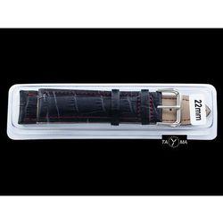 Pasek skórzany do zegarka w pudełku - czarny/czerwone - 22mm