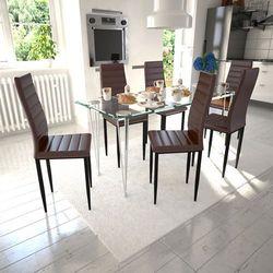 vidaXL 6 wysokich, brązowych krzeseł do jadalni + stół ze szklanym blatem Darmowa wysyłka i zwroty