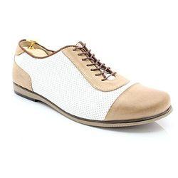 KENT 262D BEŻ-BIAŁY - Skórzane buty męskie casual z dziurkami WYPRZEDAŻ
