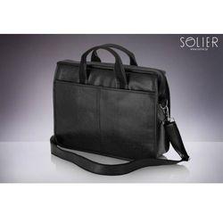 Klasyczna męska torba na ramię, laptop SOLIER S13 czarna