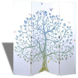 vidaXL Dzielnik pokojowy, parawan, 4 panele z motywem drzewa Darmowa wysyłka i zwroty