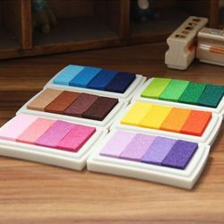 Vorkin 1PCS 6 Color Homemade DIY Gradient Color ink Pad Inkpad Stamp Decoration Fingerprint Scrapbooking Accessories