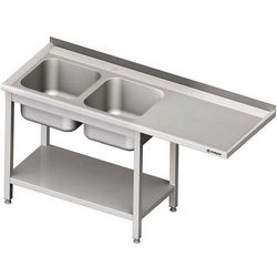 Stół ze zlewem dwukomorowym i miejscem na urządzenie STALGAST 1700x700x900 lewy