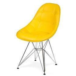 Krzesło DSR Ekoskóra - Żółty słoneczny, nogi metalowe.