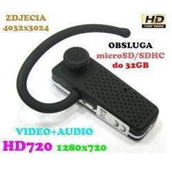 Szpiegowska Słuchawka Bluetooth, Nagrywająca Obraz HD i Dźwięk + Aparat Foto...