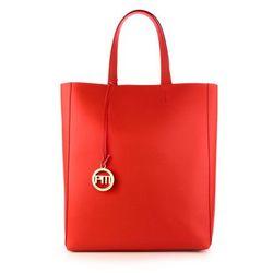 Czerwony skórzany shopper bag