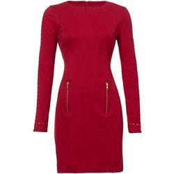 Sukienka z długim rękawem z ćwiekami bonprix ciemnoczerwony