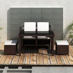 vidaXL Zestaw mebli polirattanowych 2 fotele+2 taborety Darmowa wysyłka i zwroty