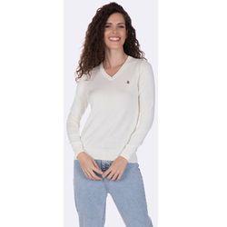 7b1db0b4 swetry damskie bialy oversizowy sweter z szara kieszenia od ...