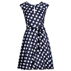 Sukienka w groszki bonprix ciemnoniebiesko-biały w groszki