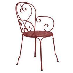 Klasyczne metalowe krzesło z podłokietnikami ogrodowe Fermob 1900