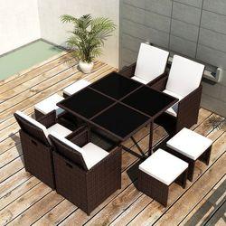 vidaXL Zestaw mebli polirattanowych 4 fotele+4 taborety Darmowa wysyłka i zwroty