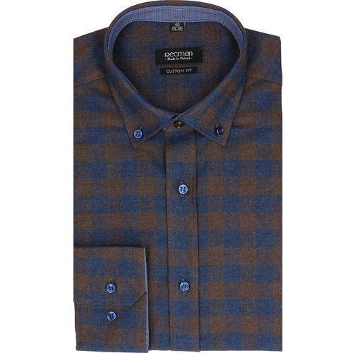 6ce6f8634 koszula bexley f2482 długi rękaw custom fit brąz - porównaj zanim kupisz