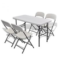 Stół ogrodowy rozkładany + 4 krzesła (122 cm) Zapisz się do naszego Newslettera i odbierz voucher 20 PLN na zakupy w VidaXL!