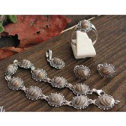 ROBERTA - srebrny z krzemieniem pasiastym