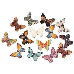 Wood Sewing Button Scrapbooking Butterfly At Random 2 Holes 25.0mm(1