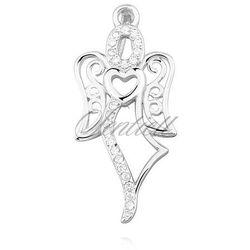 Srebrna zawieszka pr.925 anioł z cyrkoniamii