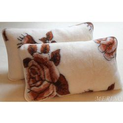 Poduszka z wełny merynosa 45x75 - Róża Brąz
