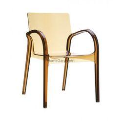 Designerskie krzesło z podłokietnikami z poliwęglanu Dejavu bursztynowe
