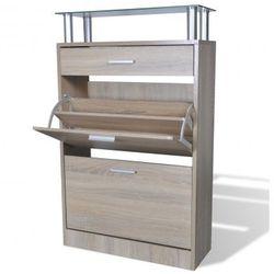 Drewniana półka na obuwie z szufladą i szklanym blatem w kolorze dębu Zapisz się do naszego Newslettera i odbierz voucher 20 PLN na zakupy w VidaXL!
