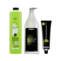 LOREAL INOA, Zestaw: farba + oxydant + szampon 6,34