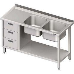 Stół ze zlewem dwukomorowym z trzema szufladami i półką STALGAST 1400x700x850 prawy