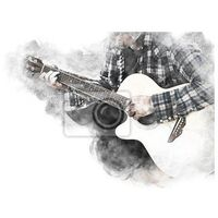 Obraz abstract beautiful man guitarist playing acoustic guitar in the foreground on watercolor painting background and digital illustration brush to art.