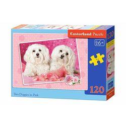 Puzzle Castorland. 120 elementów. Two Doggies in Pink (B-13128-1) + zakładka do książki GRATIS