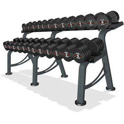 Zestaw hantli żeliwnych gumowanych 5-32,5 kg ze stojakiem Marbo Professional - czarny