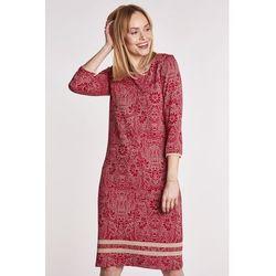 98cec70f7d suknie sukienki czerwona sukienka dzianinowa z gipiurowa koronka i ...