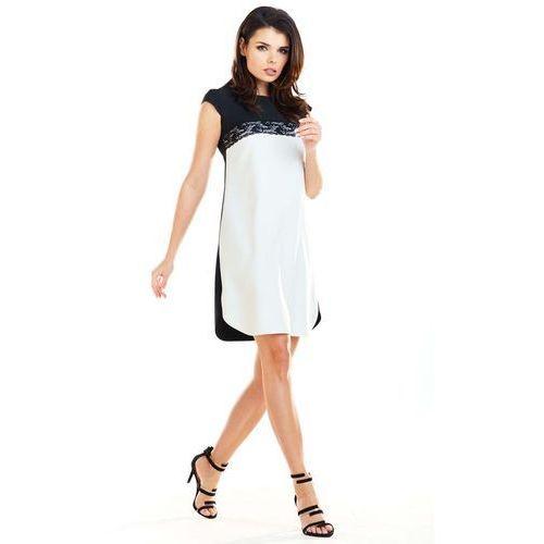 02e1ac5242 Dwukolorowa Prosta Sukienka z Koronką - porównaj zanim kupisz