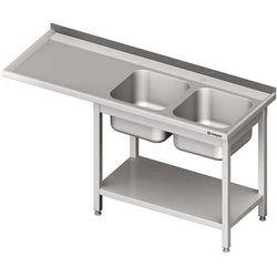 Stół ze zlewem dwukomorowym i miejscem na urządzenie STALGAST 1600x700x900 prawy