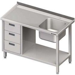 Stół ze zlewem jednokomorowym z trzema szufladami i półką STALGAST 1600x700x850 prawy