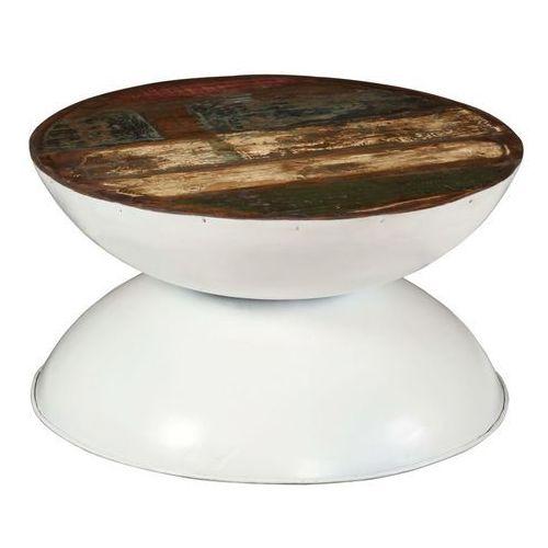 Stolik Kawowy Z Drewna Odzyskanego Biała Podstawa 60x60x33cm