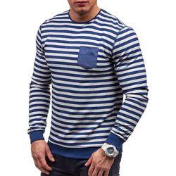 Niebieska bluza męska bez kaptura Denley 3758 - NIEBIESKI