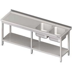 Stół ze zlewem dwukomorowym z półką spawany STALGAST 2100x600x850 prawy